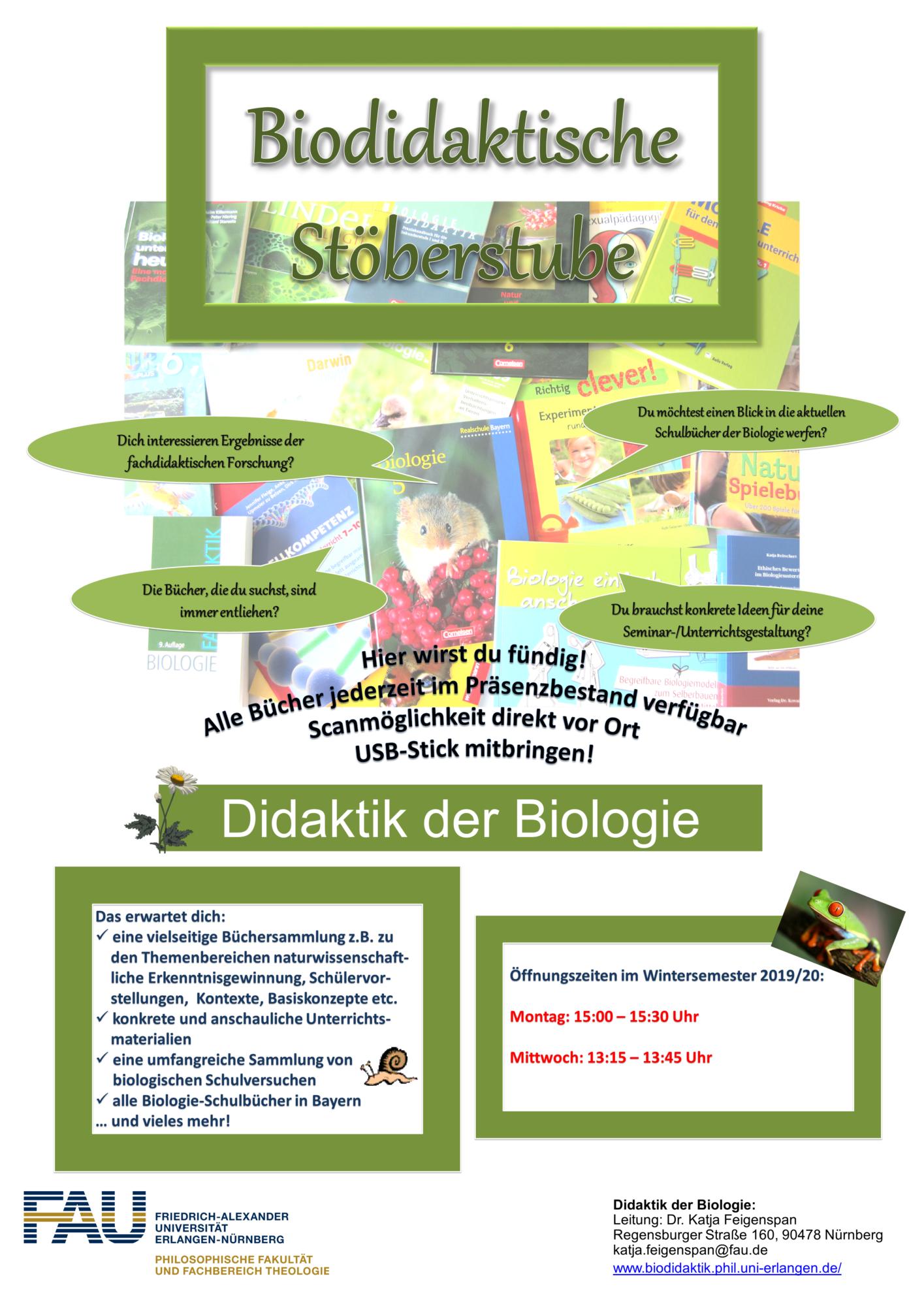 Poster Stöberstube Öffnungszeiten Wintersemester 2019/20